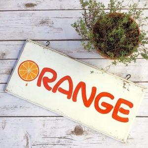 Vintage Wooden Orange Shabby Ice Cream Sign